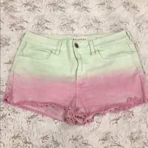 Bullhead Denim Co Green/Purple Ombré Frayed Shorts